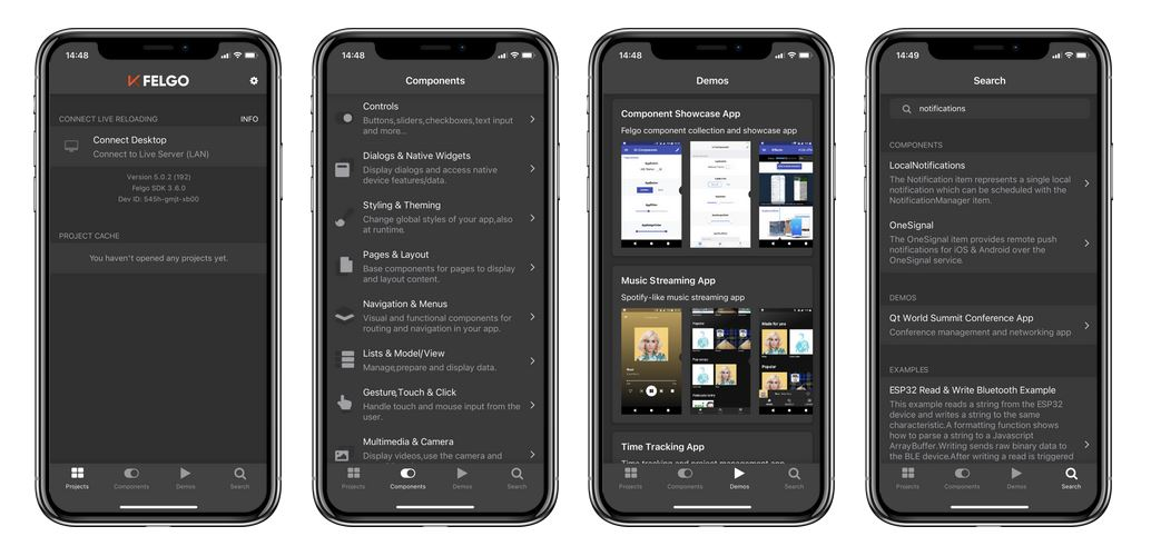 felgo-developer-app-all-screens