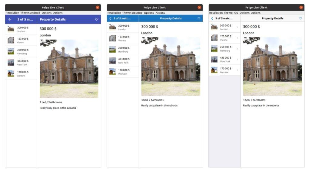 Felgo.vs.Flutter.vs.ReactNative - PropertyCross comparison