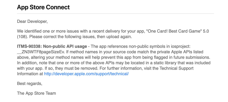 Apple Store Connect - Reject Qt update