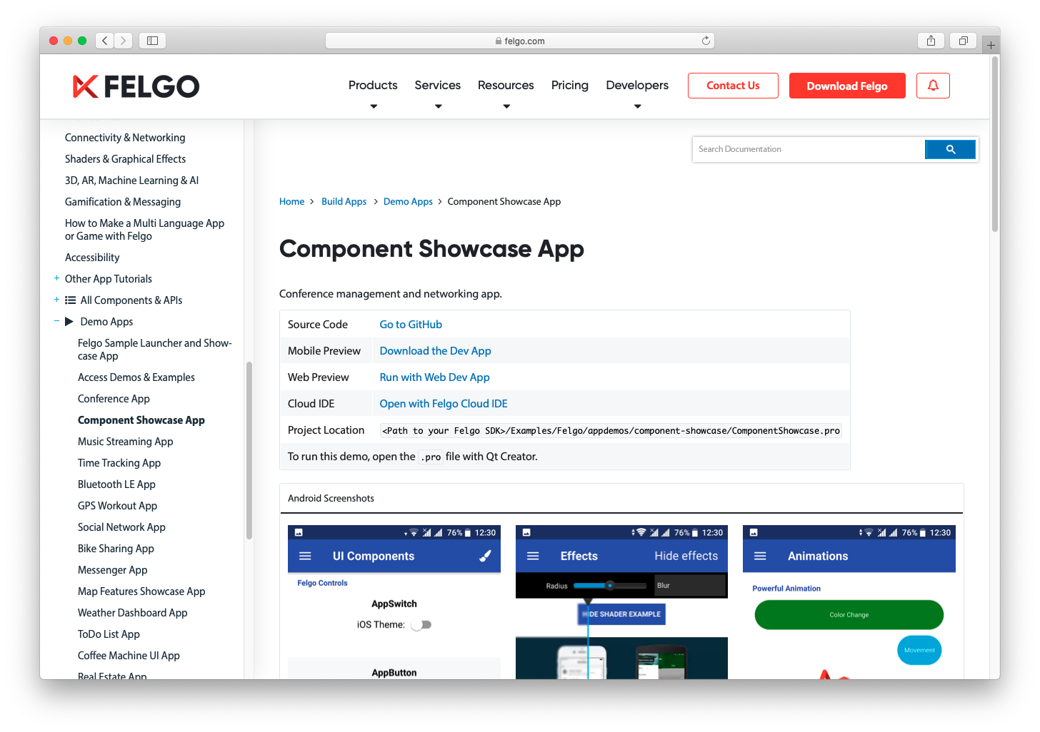 felgo-documentation-demo-links